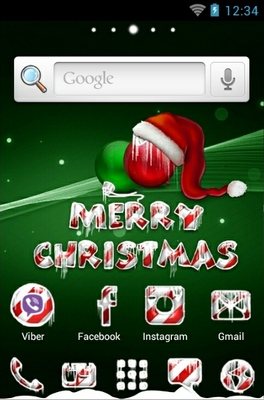 Icy Christmas Green Android Theme
